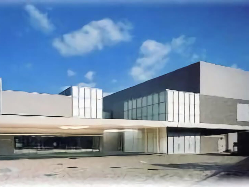 尼崎市立弥生ケ丘斎場の外観。尼崎市が運営する公営の火葬場